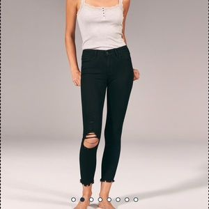 Abercrombie Harper ripped low rise ankle jeans